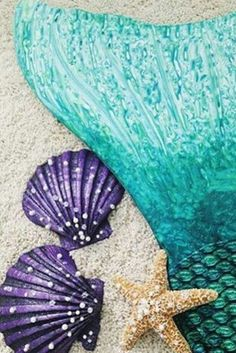 Grab some shells to pair with this beautiful Celtic Green Mermaid tail from finfun.com