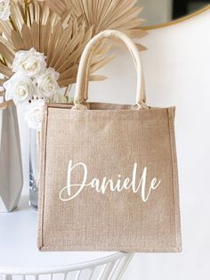 Personalized Bag Cute & Affordable Bridesmaids Gift Ideas Gifts For Wedding Party, Party Gifts, Wedding Cakes, Burlap Tote, Bridesmaid Proposal Gifts, Personalized Tote Bags, Fabric Bags, Cute Gifts, Bag Making