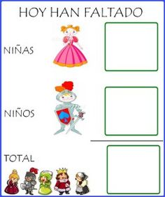 Han faltado hoy                                                                                                                                                                                 Más Little Ones, Preschool, Projects To Try, Castle, Clip Art, Kids Rugs, Chocolate, Classroom Management, Vocabulary