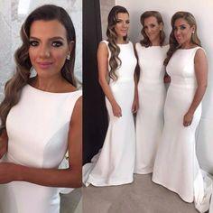 bruidsmeisjes White Satin Bridesmaid Dresses Mermaid long dresses to wear to a wedding robe demoiselle d'honneur wedding party dresses - Thumbnail 1