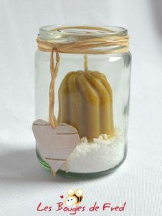 bougie votive mariage naturelle en cire d'abeille torsadée  - bougies et bougeoir - les bougies de fred - Fait Maison