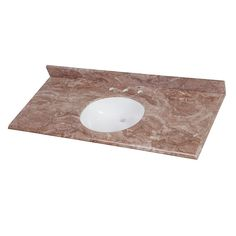 Home Decorators Collection 49 in. Stone Effects Vanity Top in Mayan Ivory with White Basin