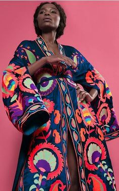 Crafted in silk, this ***Yuliya Magdych** Delight Silk Robe features a long kimono silhouette, open balloon sleeves, and a front slit. Bold Fashion, Womens Fashion, Fashion Design, Kimono Fashion, Fashion Dresses, Long Kimono, Classic Outfits, Wearable Art, Passion For Fashion