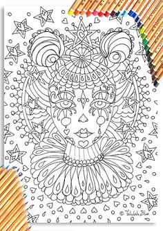 Clown Girl Colouring Page 'The Circus Girl Colouring