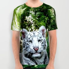 White Bengal Tiger All Over Print Shirt