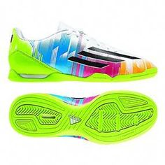 1b65068a0c9 Adidas Messi F10 Youth Indoor Soccer Shoes (White Black Solar Slime)