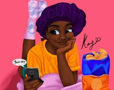 Draw Cartoons You up? Digital art by the amazing Black Love Art, Black Girl Art, Black Girl Magic, Art Girl, Black Art Painting, Black Artwork, African American Art, African Art, Drawings Of Black Girls
