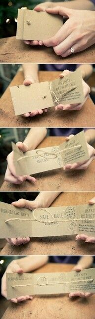 "Rustic ""save the date"" diy cards.. Actually really like this idea, and the knot is cute"