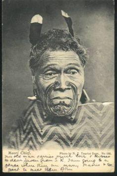 - Maori Chief 1906 Denton card to england Card Tonga, Tahiti, Maori Tattoo Designs, Maori Tattoos, Filipino Tattoos, Old Photos, Vintage Photos, Ta Moko Tattoo, Maori Tribe