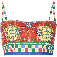 Dolce & Gabbana Carretto Siciliano print bustier top ($615) ❤ liked on Polyvore featuring tops, bralet, shirts, red, white cotton shirt, bralette tops, bustier tops, red top and crop top