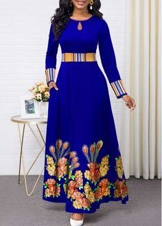 Women'S Royal Blue Floral Print Long Sleeve Maxi Cocktail Party Dress High Waisted Elegant A Line Dress By Rosewe Flower Print Keyhole Neckline Maxi Long African Dresses, Latest African Fashion Dresses, Women's Fashion Dresses, Sexy Dresses, Latest Dress, 1950s Dresses, Fashion Clothes, Vintage Dresses, Casual Dresses