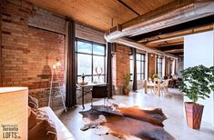 Authentic, Spacious Hard Loft In Riverdale W/ Newly Renovated Kitchen And Bathroom - Queen & Broadview! Exposed Brick Walls, Wood Ceilings, Loft Spaces, Concrete Floors, Kitchen Living, Open Concept, Modern Bathroom, Beams, Kitchen Remodel