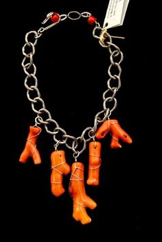 Coral Branches on silver chain Contemporary Jewelry by Phyllis Clark Designs