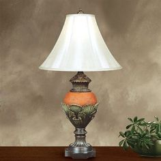 "Price: $157.41 JB Hirsch J15064 Lily Pad Table Lamp - 32"" Lily Pad Lamp    Silk shade Orange red finish"