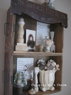 Old drawer shelves by Chipping with Charm featured on Funky Junk Interiors. Love the old drawers👍❤️ Rustic Shelves, Craft Room, Decor, Old Drawers, Repurposed Furniture, Rustic Shelves Diy, Funky Junk Interiors, Diy Furniture, Craft Room Organization