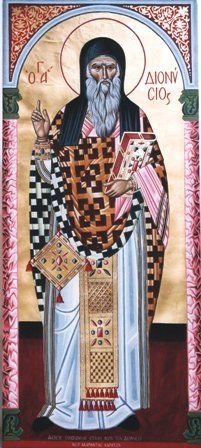 Hand painted icon of Saint Dionysios of Zante island in Greece on canvas