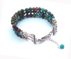 Genuine Natural Turquoise and Silver Bead Bracelet by IslandGirl77, $39.99