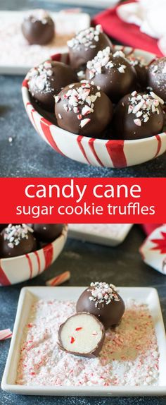 Smooth sugar cookie truffles with a touch of peppermint candy cane crunch inside. Dip in chocolate and sprinkle with candy canes. via @tastesoflizzyt