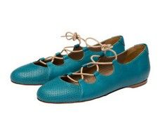 Carousel Teal Italian lace up ballet flats