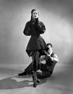 Charles James with a model, 1948.