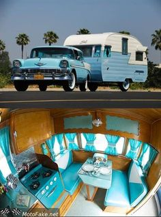 1956 retro blue and white camper and car