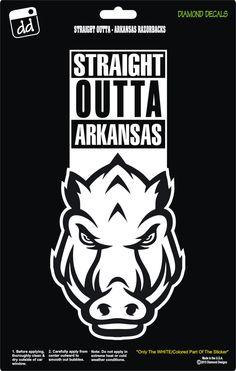 Straight Outta Arkansas Razorbacks College Football Logo Decal Vinyl Sticker Car Truck Window Laptop by DiamondDecalz