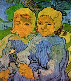 Two Little Girls, 1890 by Vincent van Gogh. Cloisonnism. portrait. Musée d'Orsay, Paris, France