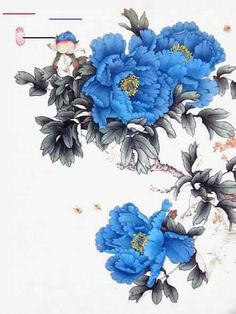 Japanese Painting, Chinese Painting, Chinese Art, Japanese Art, Chinese Style, Oriental Flowers, Chinese Flowers, Japanese Flowers, Japanese Peony Tattoo