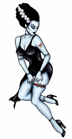 Bride of Frankenstein Pinup. Get more Halloween tattoo inspiration at www. Bride of Frankenstein Pinup. Get more Halloween tattoo inspiration at www. Pinup Art, Pin Up Tattoos, Body Art Tattoos, Tatoos, Henna Tattoo Arm, Tattoo Wolf, Pin Up Kunst, Tatuagem Pin Up, Zombie Pin Up