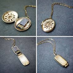 USB Locket by Emily Rothschild. So chic and useful it's almost like a secret agent's gadget...
