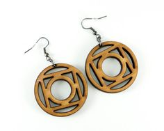 Circles & Squares Geometric Wood Laser-Cut Earrings -Simple Lightweight Wooden Earrings in Cherry, Maple or Walnut Wood on Etsy, $18.00