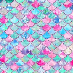Colorful Pink and Blue Watercolor Trendy Glitter Mermaid Scales Duvet Cover by betterhome | Society6