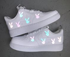 Rainbow Reflective Bunny Air Force 1 by cloutcvlture aesthetic shoes Reflective Butterfly Air Force 1 Jordan Shoes Girls, Girls Shoes, Shoes Women, New Shoes, Shoes Heels, Footwear Shoes, Pink Shoes, Basket Style, Nike Shoes Air Force