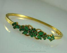 Gold Emerald Bracelets Designs,22K Gold Bracelets with Emeralds, Emerald Bracelet Models.