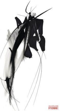 Fondazione Gianfranco Ferré / Collezioni / Donna / Prêt-à-Porter / 1990 / Primavera / Estate Japanese Illustration, Fashion Illustration Sketches, Fashion Sketches, Illustrations, Fashion Drawings, Doodle Images, Art Informel, Fashion Design Sketchbook, Figure Sketching