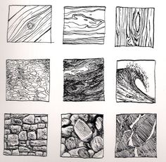 Kinnon Elliott Illustration: Pen and Ink Texture Thumbnails - Zentangle Texture Illustration, Illustration Pen And Ink, Ink Illustrations, Texture Sketch, Texture Drawing, Texture Art, Pencil Texture, White Texture, Ink Pen Drawings