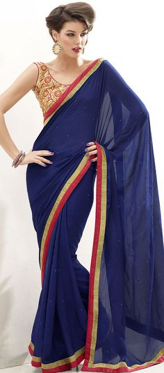 Navy Blue Georgette Bollywood Fancy Saree Blouse