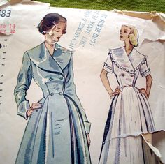 1940s Vintage Sewing Pattern - Simplicity 2683 - Double Breasted Pleated Dressing Gown - Robe - Housecoat. $42.00, via Etsy.