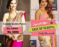 Combo Offer Of Designer Bollywood Embroidered Cream Saree And Magenta Saree
