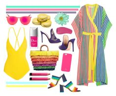 """""""Beach Bright"""" by cherieaustin ❤ liked on Polyvore featuring Emma Pake, Kayu, Christian Dior, Gianvito Rossi, Kate Spade, Diane Von Furstenberg, Alice + Olivia, Bobbi Brown Cosmetics and Ray-Ban"""