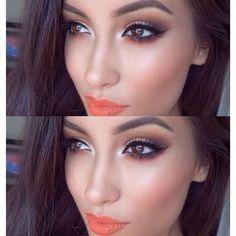Make linda com batom laranja