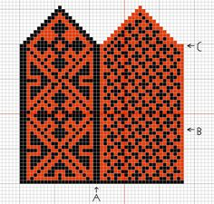 Here's the pattern for my red and black mittens. Knitted Mittens Pattern, Knit Mittens, Knitting Socks, Knitted Gloves, Hand Knitting, Knitting Charts, Knitting Stitches, Knitting Patterns, Bead Crochet Rope