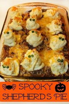 Halloween Spooky Shepherds Pie - a family friendly casserole with mashed potato ghosts!