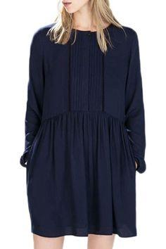 Deep Blue Jewel Neck Long Sleeve Dress