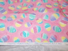 Holidays Easter Eggs sewing fabric Vtg 90s Fabric Traditions pink silver glitter
