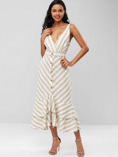 6a99f2f38f0f [44% OFF] 2019 Striped Plunging Flounce Dress In MULTI S | ZAFUL IE