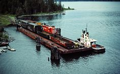 https://flic.kr/p/LKWUHd | CP, Rosebery, British Columbia, 1983 | Canadian Pacific Railway local freight train on barge in Slocan Lake at Rosebery, British Columbia, on July 14, 1983. Photograph by John F. Bjorklund, © 2015, Center for Railroad Photography and Art. Bjorklund-38-08-22