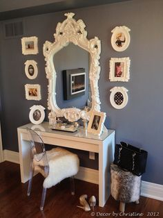 Malm ikea table and beautiful white engraved mirror and frames with lucite ghost chair