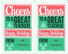 These are super cute =) Cheers! Downloadable gift tags. Get at the PTO Today File Exchange (for free!).