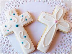 GALLETA CRUZ COMUNION Cross Cookies, Cut Out Cookies, Yummy Cookies, Sugar Cookies, Cupcakes, Cupcake Cakes, Christian Cakes, Christening Cookies, Shaped Cookie